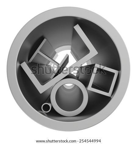 stainless steel pipes and profiles on a white background. 3d illustration. - stock photo