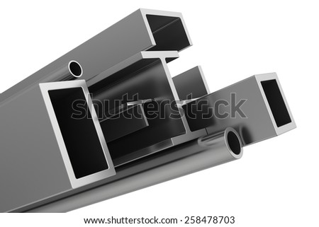 stainless steel pipes and profiles on a white background. 3d illustration.