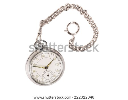 Stainless steel pocket watch - stock photo