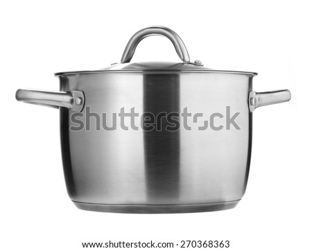 Stainless Steel pot isolated on a white background