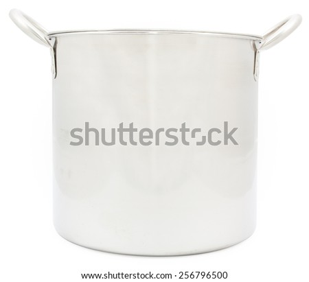 stainless steel pot isolated on white background - stock photo