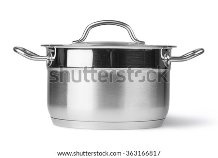 Stainless steel pot. Isolated on white background with clipping path