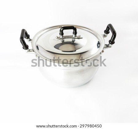 stainless steel pot on isolated background - stock photo