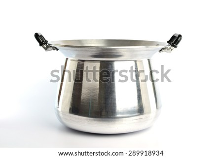 Stainless steel pot on white background - stock photo