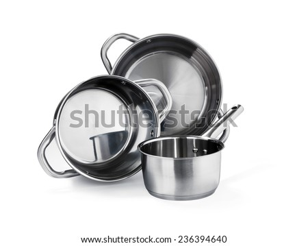 Stainless steel pot set on white - stock photo
