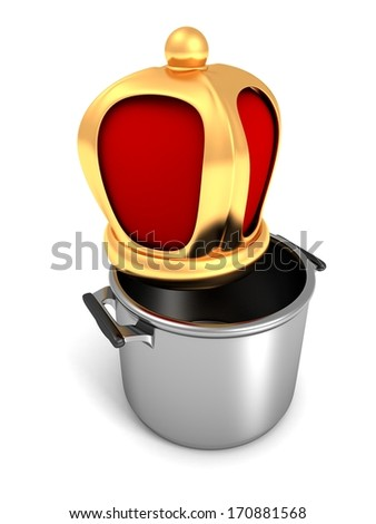 Stainless steel pot with cover golden king cook crown - stock photo