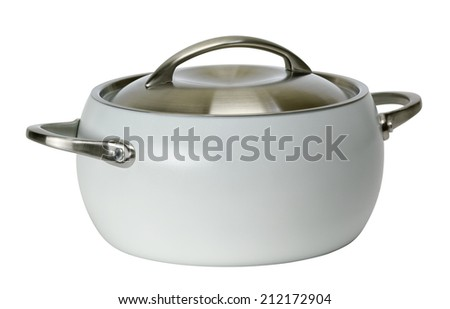 Stainless steel pot with cover. Isolated on white background