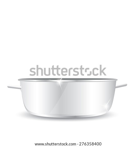 Stainless steel pot without cover - stock photo