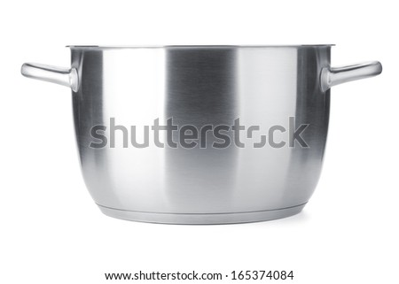 Stainless steel pot without cover. Isolated on white background - stock photo