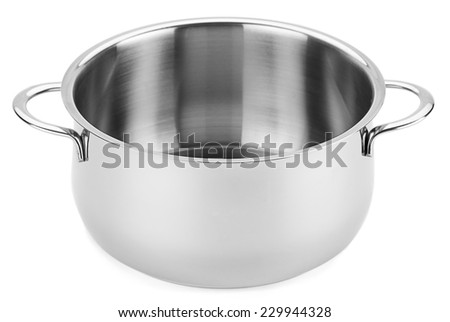 Stainless steel pot without cover isolated on white background. - stock photo
