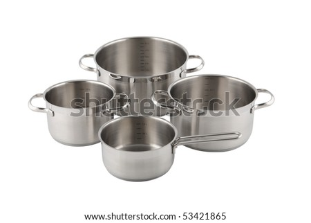 Stainless steel pots isolated on white - stock photo