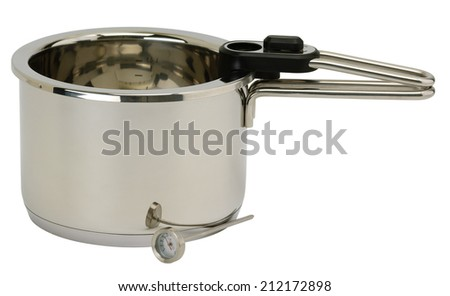 Stainless steel pressure pot with cover. Isolated on white background - stock photo