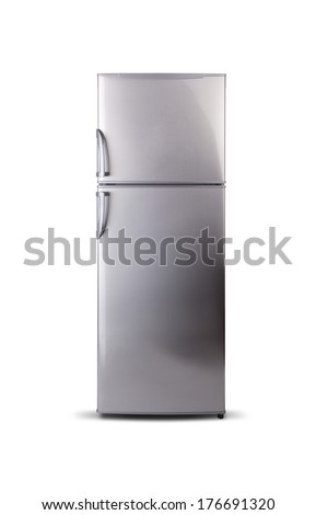 stainless steel refrigerator - stock photo
