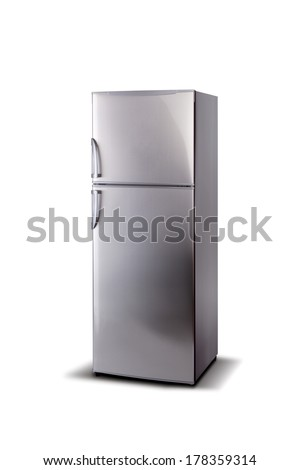 Stainless steel refrigerator isolated on white. Comfortable handles. - stock photo
