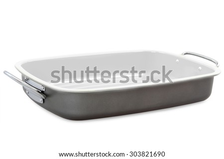 Stainless steel roasting pan on white background - stock photo