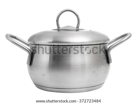 Stainless steel saucepot with lid. Sauce pot. Isolated on a white background. - stock photo