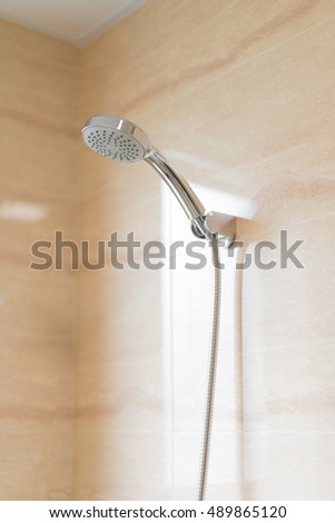 stainless steel show head in bathroom