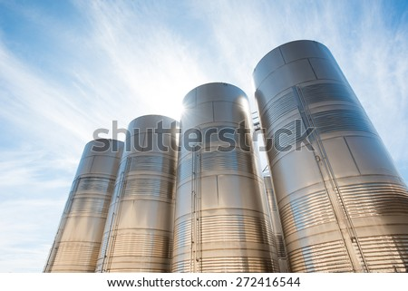 stainless steel silos - stock photo