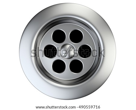 Superieur Stainless Steel Sink Drain Isolated On A White. 3d Illustration.
