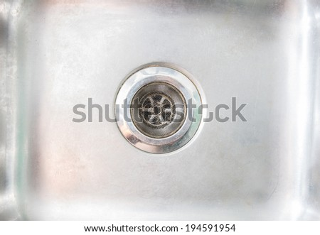 Stainless steel sink plug hole close up background