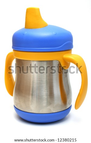 Stainless steel sippy cup, great for parents who are looking for an alternative to plastic bottles and sippy cups - stock photo