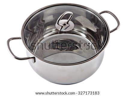 Stainless steel stewpan with clear glass lid, isolated on white.