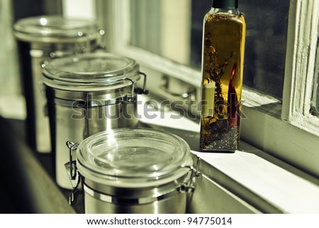 Stainless Steel Storage Containers Bottle Olive Stock Photo Royalty