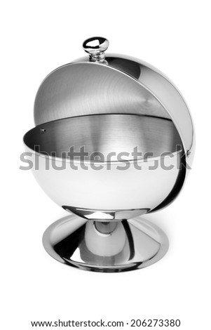 Stainless steel sugar bowl on white background - stock photo