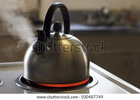 Stainless steel tea kettle boiling with a kitchen in the background.