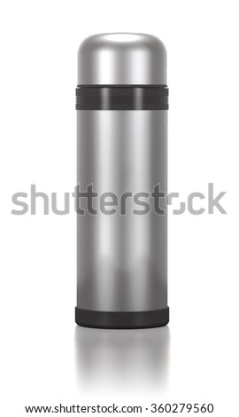 Stainless steel thermos for drinks on white background. - stock photo