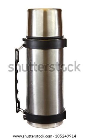 Stainless steel thermos isolated on a white background. - stock photo