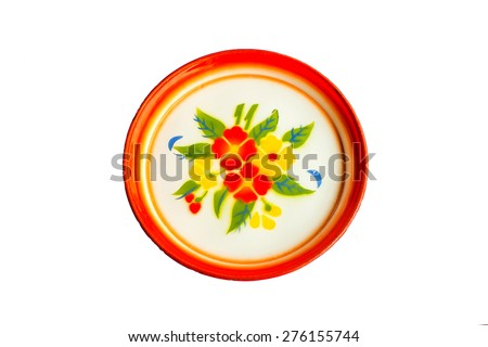 Stainless steel tray floral patterns of thailand isolate with clipping path - stock photo