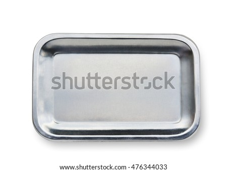stainless steel tray isolate on white background with clipping path.