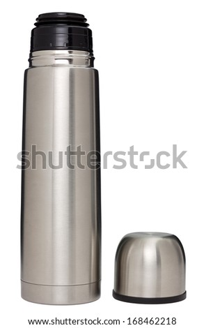 Stainless steel vacuum flask isolated on white with clipping path - stock photo