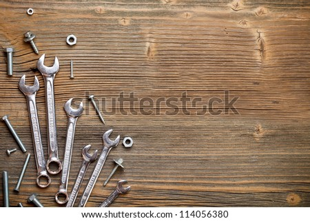 Stainless steel wrench set and bolt - stock photo