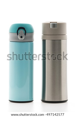 Stainless Thermal water bottle isolated on white background