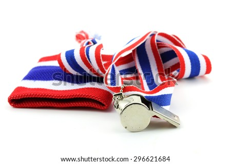 Stainless whistle with Thailand national flag lanyard in heart shape on white background - stock photo
