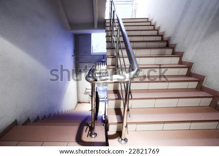 Stair in office hall - stock photo