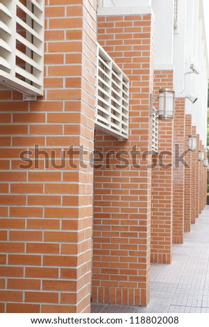 stair on block wall - stock photo