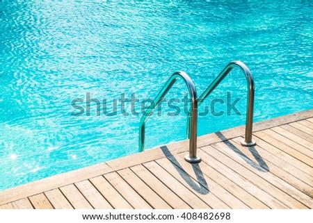 Stair swimming pool in beautiful luxury hotel pool resort - stock photo