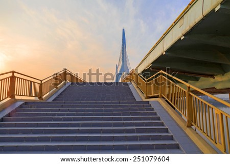 stair  to overpass - stock photo