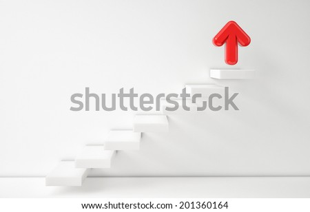 Stair up ladder to success, red arrow, illustration 3d - stock photo