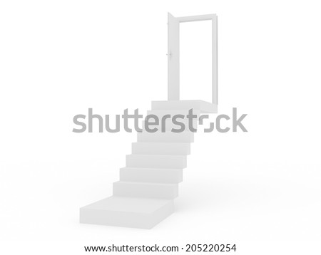 stair with the opening door 3D  - stock photo
