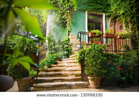 Staircase and entrance of a house in Sofia, Bulgaria - stock photo