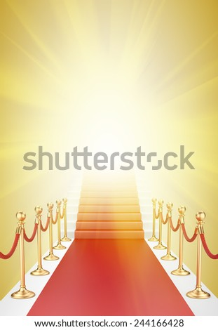 Staircase and red carpet between two gold stanchions with rope and flash light - stock photo