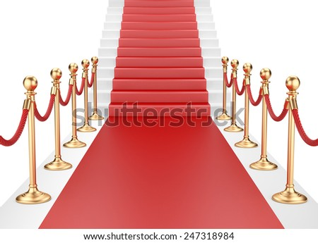 Staircase and red carpet between two gold stanchions with rope. 3d illustration - stock photo