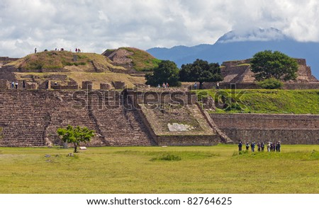 Staircase and the ruins of of Monte Alban - Oaxaca, Mexico. - stock photo