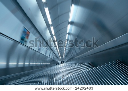 staircase at metro station, Prague - stock photo