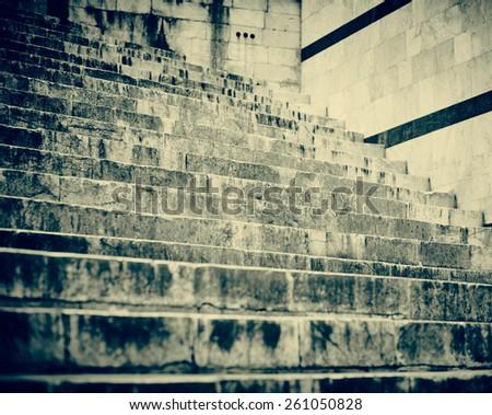 Staircase. Black and white - stock photo