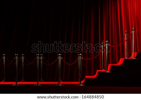 Staircase for fame on red curtain background - stock photo